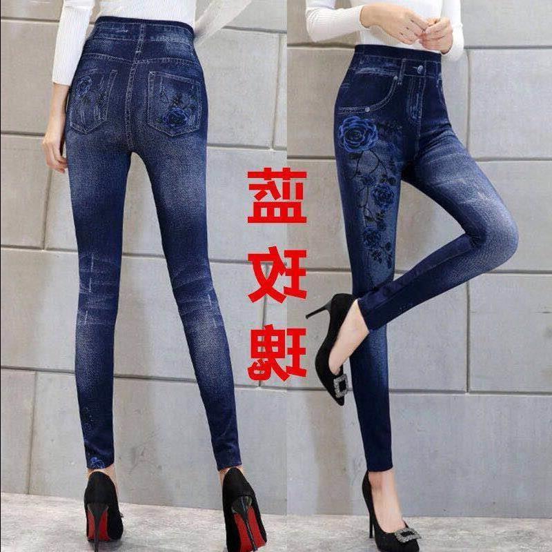 加绒厚款秋冬中老年大码长裤打底裤女士高弹力铅笔裤印花仿牛仔。