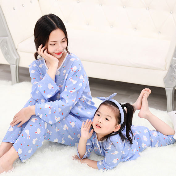 Summer children's cotton silk pajamas girls family fitted summer ultra-thin baby child long-sleeved air conditioning cotton silk suit