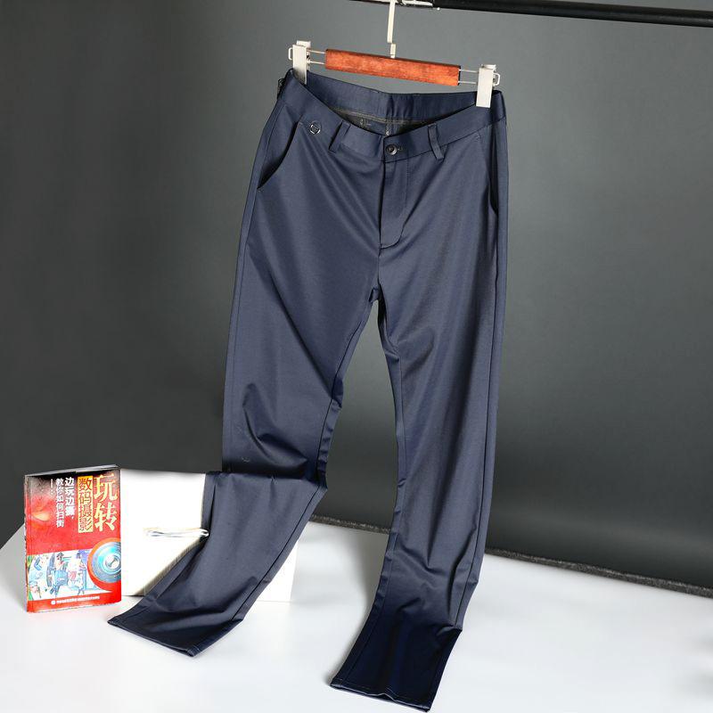 夏季高端 G级桑蚕丝柔软细腻丝滑清凉免烫透气弹力商务修身休闲裤