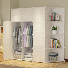 Simple wardrobe simple modern economical assembled solid wood panel renting space space bedroom storage plastic closet