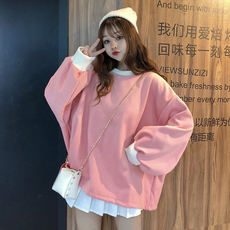 Autumn women's Korean version of the small fresh loose thin lazy net red shirt plus velvet thickening students long-sleeved sweater women