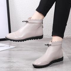 单靴子女春秋短靴2019新款真皮平底马丁靴镂空软底妈妈鞋大码裸靴