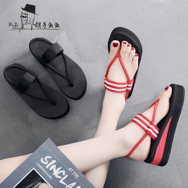 韩版凉鞋拖鞋两穿女夏季坡跟防滑2019网红凉拖个性厚底沙滩人字拖