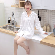 Loose female sense pajamas spring and summer erotic lingerie nightdress cotton mood bottoming white shirt thickening home service