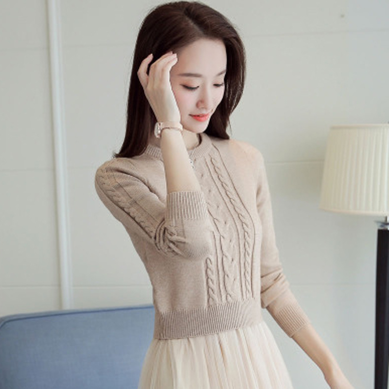麻花毛衣女圆领加厚针织衫2018新款秋冬韩版毛线短款打底小款上衣