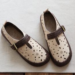 日系森女文艺复古镂空花瓣圆头平底鞋手工舒适软底一字带女凉鞋