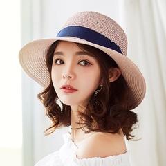 韩国草帽 女新款夏天遮阳帽喷染彩点可折叠太阳帽海边度假沙滩帽
