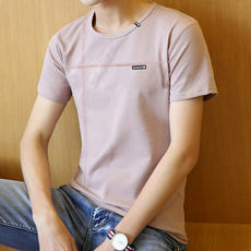 Summer men's short-sleeved t-shirt youth round neck half-sleeve body trend men's clothing on the bottom of the solid color cotton K