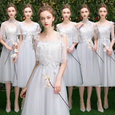 Bridesmaid dress temperament 2019 new summer gray sister group graduation dress skirt female thin cover arm long section