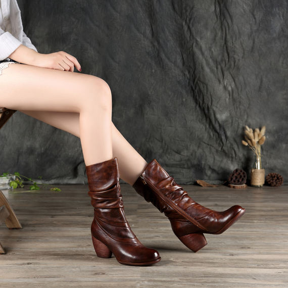 Retro knight boots 2018 autumn and winter new retro thick high-heeled color leather high boots long tube female