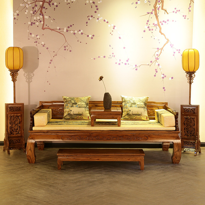 新中式实木罗汉床 正宗老榆木罗汉床复古 明清仿古家具古典沙发床