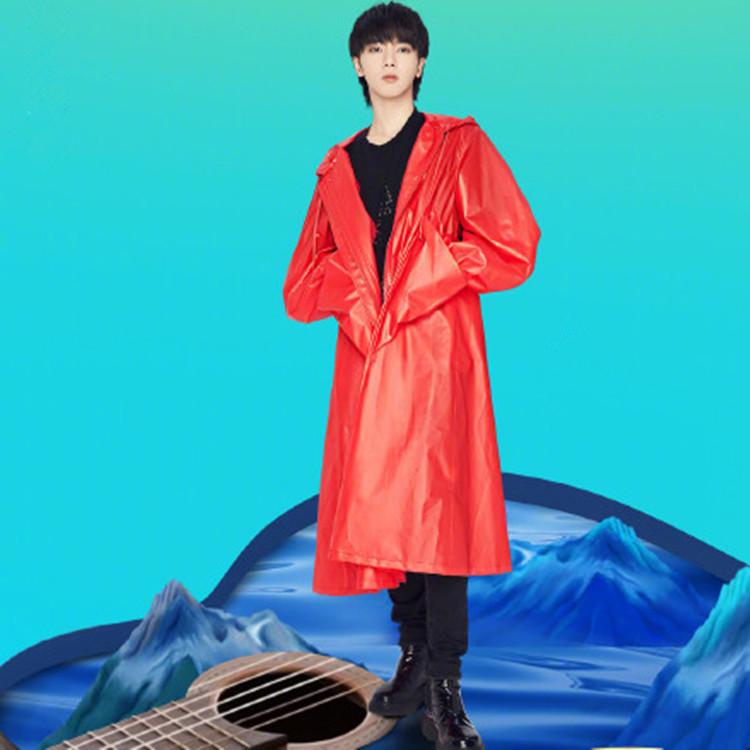 歌手华晨宇2018同款红色连帽中长款风衣防晒服男女表演服歌服春季