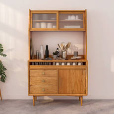 Modern minimalist sideboard Nordic solid wood tea cabinet Japanese new Chinese light luxury living room small apartment storage side cabinet