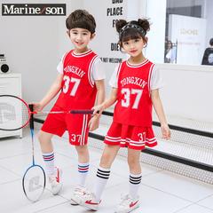 幼儿园园服男女小学生夏装毕业班服儿童红色运动短袖夏季套装校服
