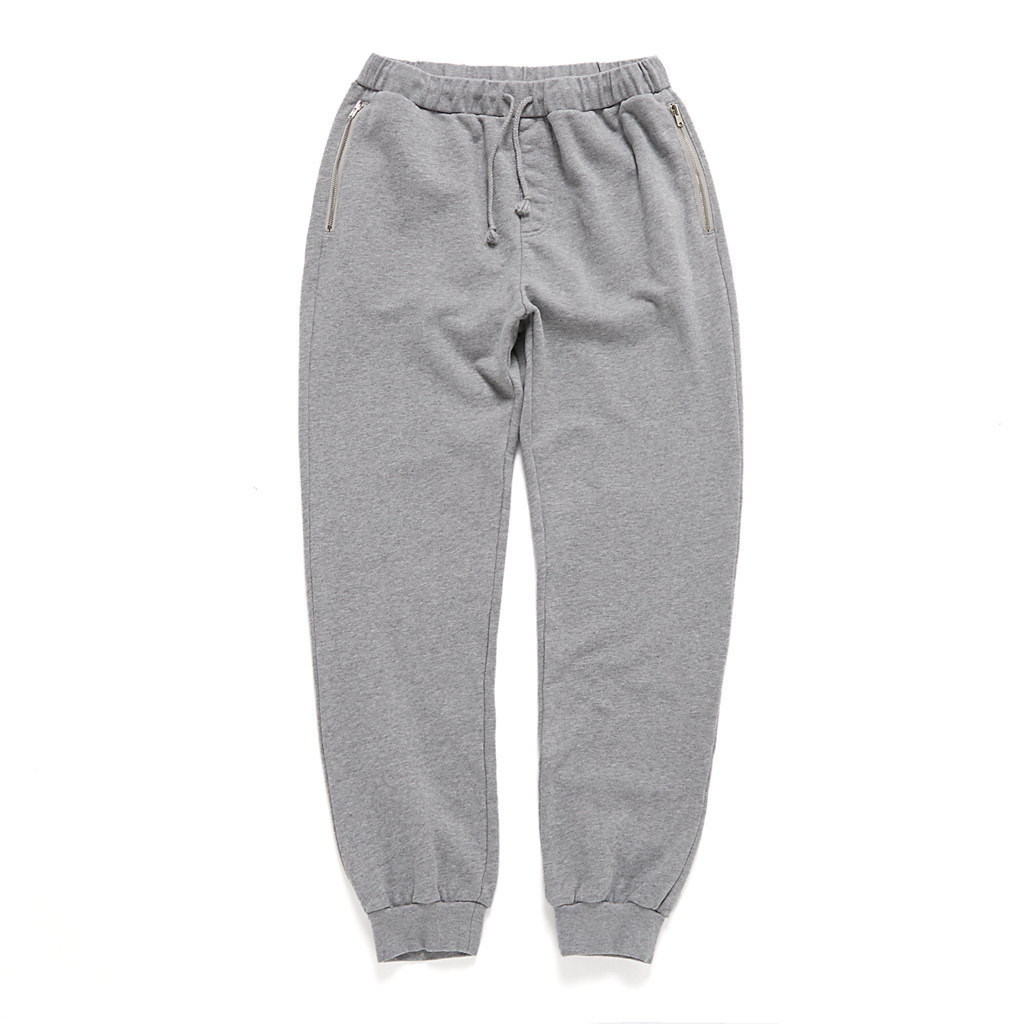 INSAIT SWEATER PANTS . USA COTTON 灰色口袋拉链美棉卫裤