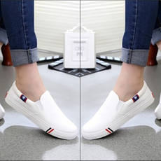 Spring men's white canvas shoes one pedal lazy shoes Korean men's shoes low to help casual shoes shoes student shoes