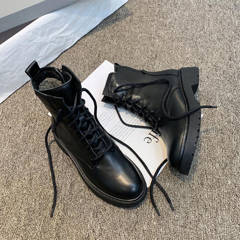 2019秋冬新款马丁靴厚底短靴女真皮系带英伦复古军靴机车靴女靴