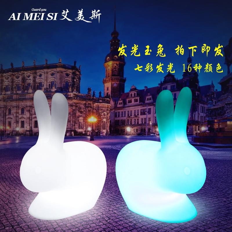 新款七彩led发光兔子灯 创意广场玉兔装饰彩灯中秋月兔防水小夜灯