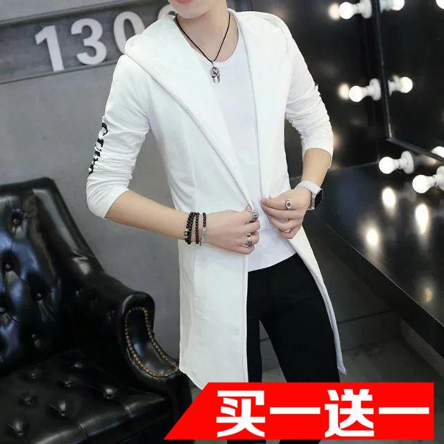 秋季风衣男宽松韩版中长款高中学生大学生纯色帅气披风外套非主流