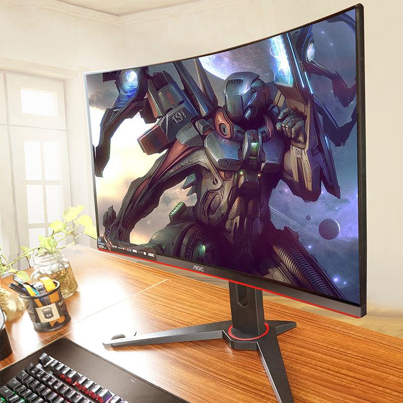 AOC 24英寸曲面电竞显示屏144Hz高清HDMI液晶吃鸡游戏显示器C24G1 ps4台式电脑可升降22屏幕壁挂APEX英雄27