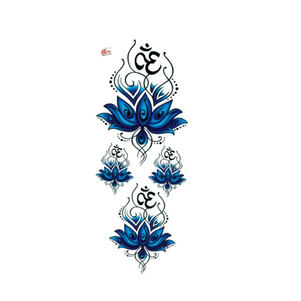 酷玩天下纹身贴 巨幅神圣蓝莲花图腾 瑜伽om符号 防水女纹身贴纸