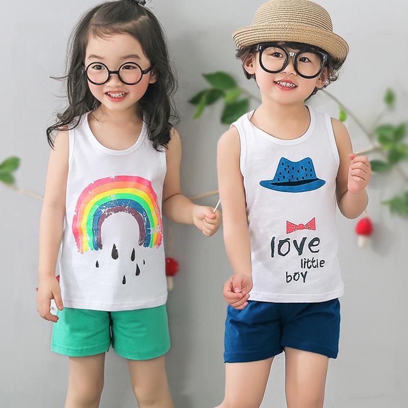 女童背心套装男童韩版中童上衣短裤儿童纯棉夏季无袖宝宝衣服