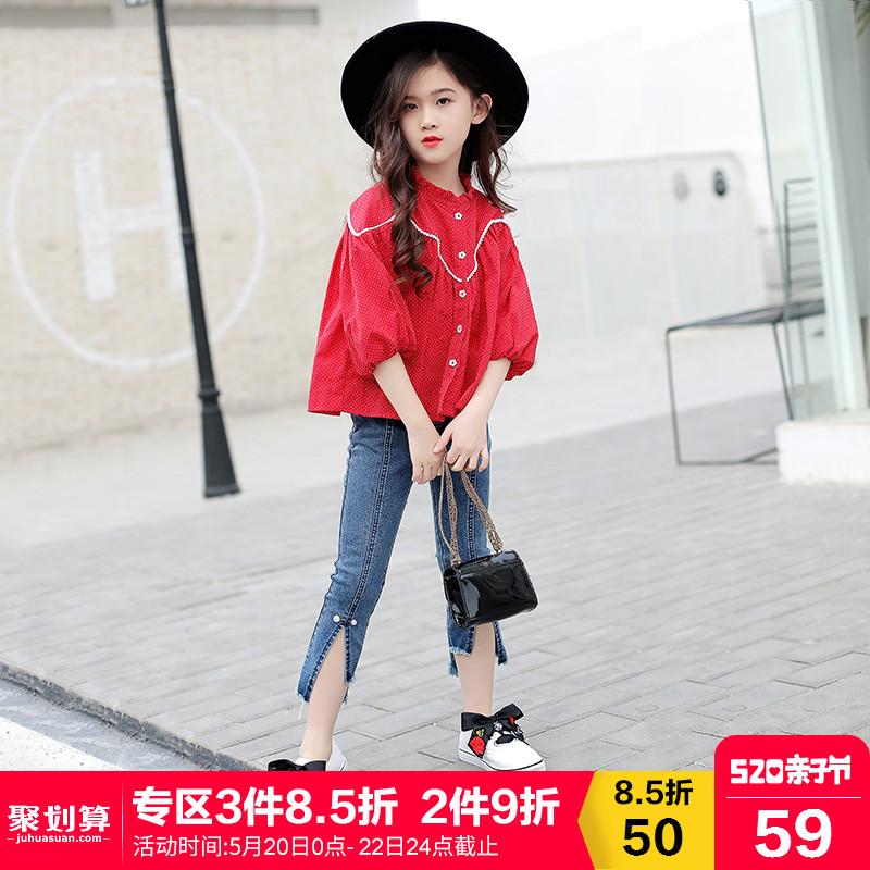 女童短款衬衫春装2018新款韩版中大童儿童装长袖上衣时尚女孩衬衣