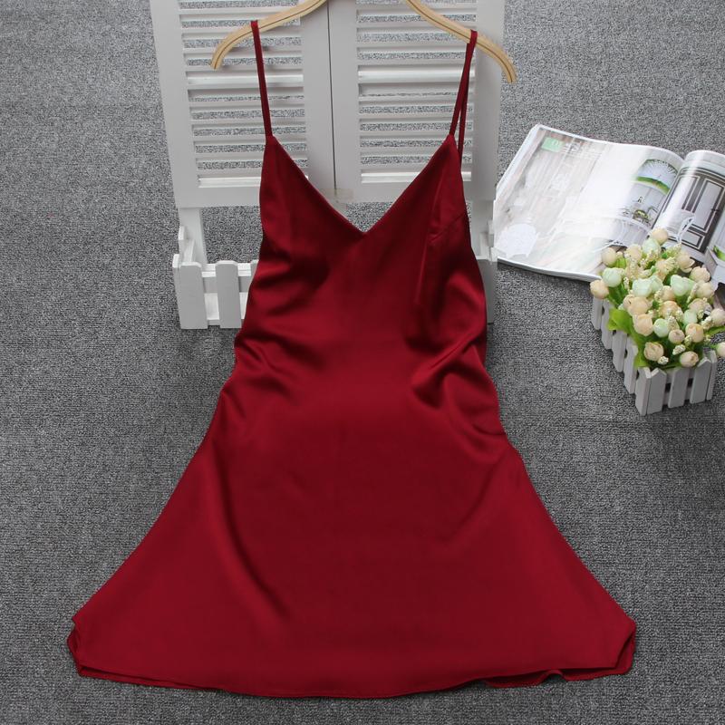 欧美吊带睡裙女夏季性感仿真丝绸睡衣情趣诱惑大码家居服无袖短裙