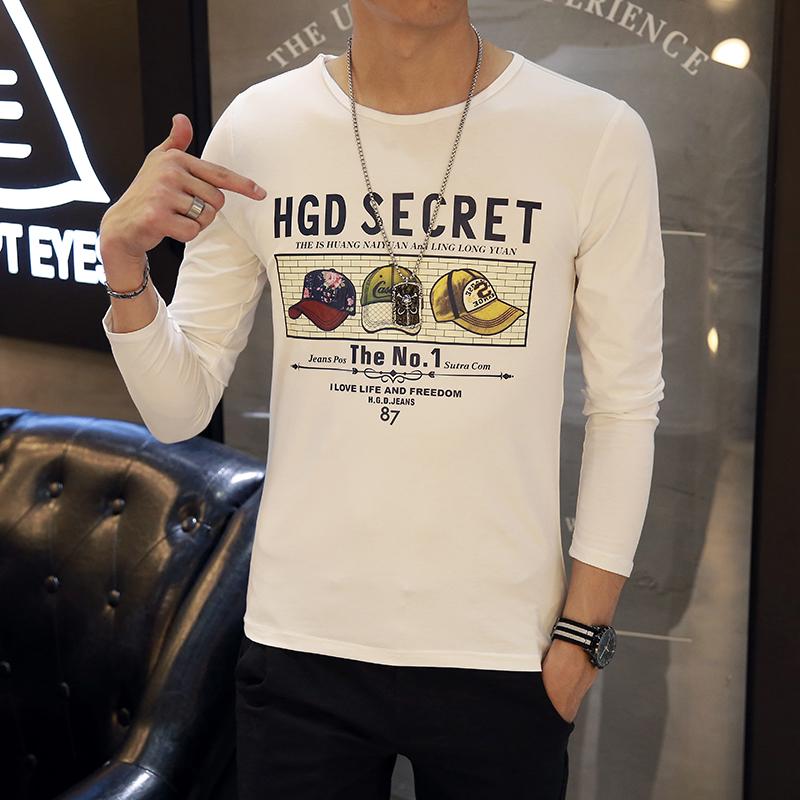 长袖T恤男装修身上衣秋装新款小衫青少年衣服男士体恤学生打底衫
