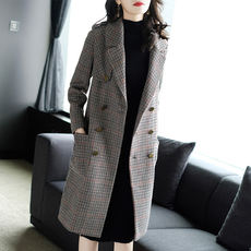 Europe and the United States thousands of birds wool coat female long section 2017 autumn and winter new long-sleeved double-sided coat women