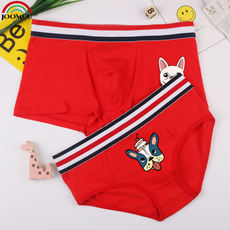JOOMUU couple red underwear this year is a dog cotton large size men's boxer ladies triangle flat tide cartoon