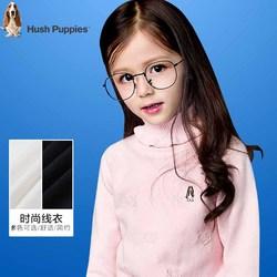 暇步士童装女童新款秋装中大童翻高领针织衫儿童时尚套头毛衣