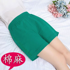 Summer middle-aged lady wear mother shorts female summer middle-aged senior high waist loose cotton and linen pants thin section