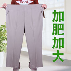 Summer thin section middle and old aged women's pants elastic waist mother pants old pants women plus fertilizer XL loose 200 kg