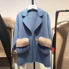 2018 autumn and winter new double-sided cashmere coat female short section Korean version of the small fox fur pocket fur coat