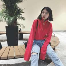 Vintage port wind chic high collar ring zipper was thin corduroy long-sleeved sweater autumn shirt female tide bottoming shirt