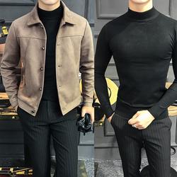 【2件装】2018秋冬新品韩版修身鹿皮绒夹克男翻领休闲短款外套潮