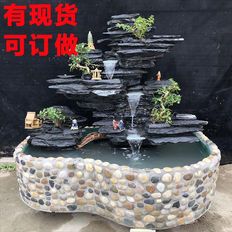 假山流水喷泉大型摆件室内花园水池真石头别墅庭院阳台鱼池装饰图片