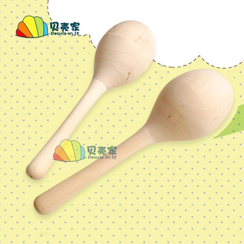 可绘画木制沙锤空白手绘木质白坯卡涂色儿童手工diy打击乐器教具
