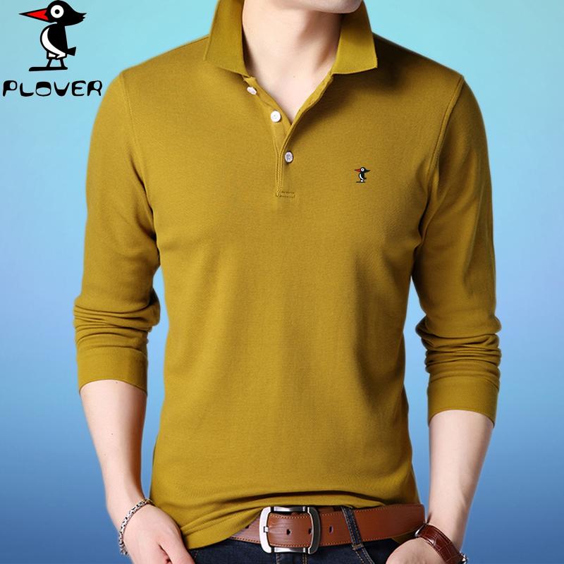 啄木鸟长袖T恤男士翻领秋季新款纯色宽松体恤中青年薄款纯棉男装