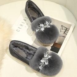 新款毛毛鞋女冬季加绒外穿豆豆鞋厚底兔毛棉瓢鞋一脚蹬大码41-43