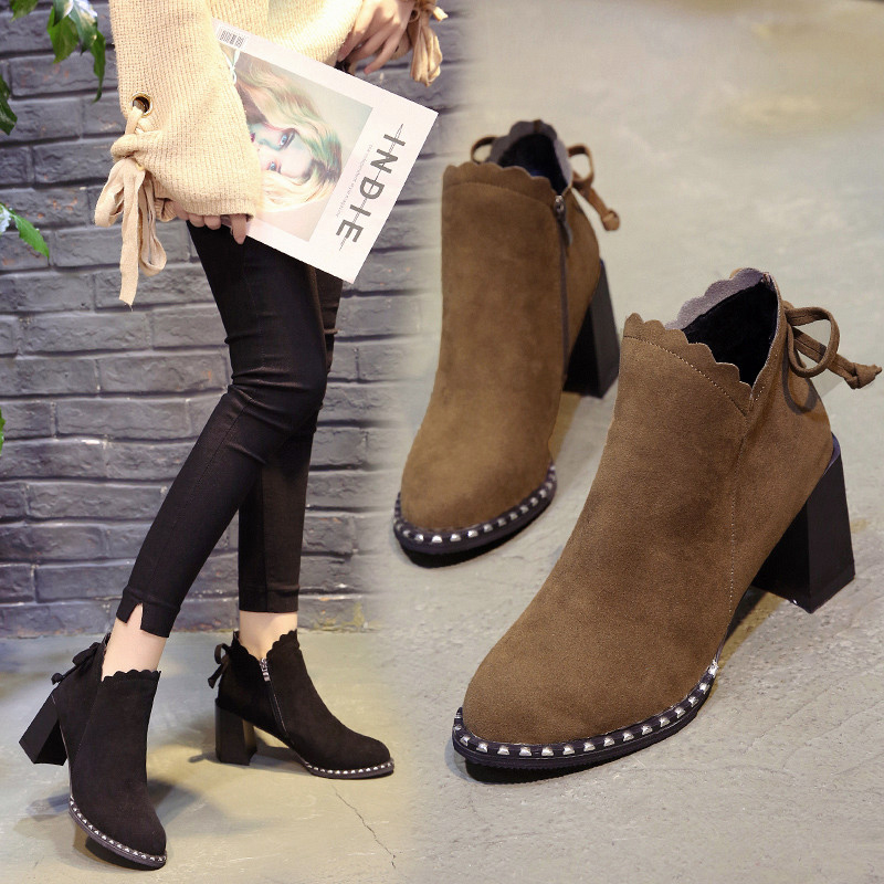 蝴蝶结加绒短靴女英伦风粗跟马丁靴高跟女鞋2017秋季新款尖头靴子