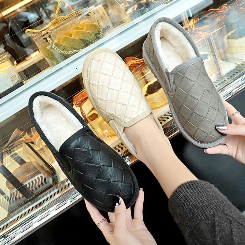 2018冬季新款韩版雪地靴女平底保暖加厚短靴一脚蹬懒人棉鞋面包鞋