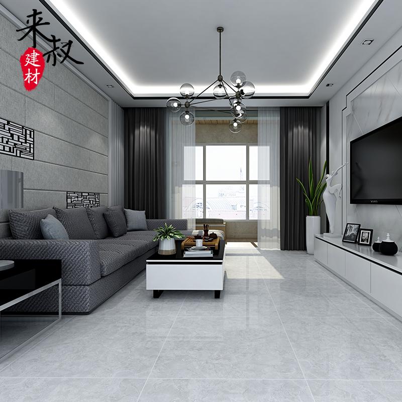 来叔北欧灰色800800亮光通体大理石地板砖客厅云石灰抛釉砖