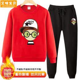 男童冬装加绒套装2018新款韩版儿童冬季中大童加厚保暖卫衣两件套