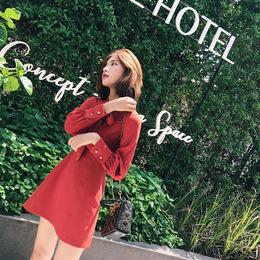 杨沫沫 秋装女2018新款红色蝴蝶结系带灯笼袖短裙高腰长袖连衣裙