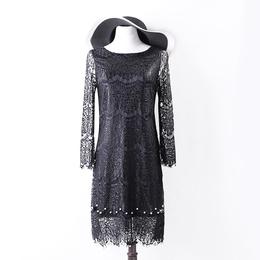 蕾丝连衣裙女春季新款长袖修身中长款小礼服镶珍珠女装裙8A746