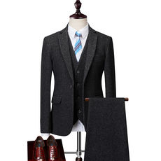 Winter men's business casual woolen thick suit suit large size groom wedding dress suit three-piece male