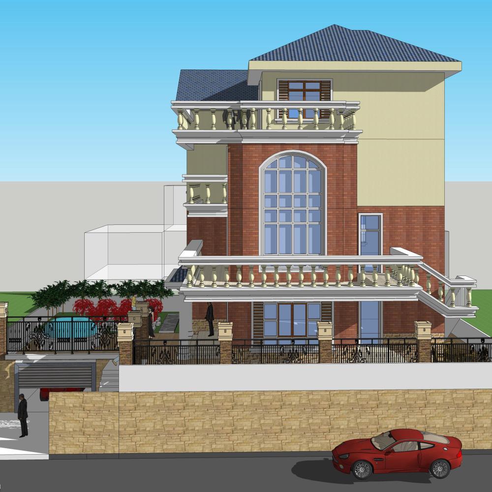 三层别墅图纸农村自建房二层半房屋设计施工图施工方案图效果图