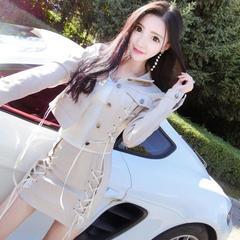 2018春装新款气质韩版时尚绑带短款皮外套+高腰包臀短半身裙套装